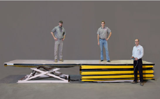 Hydraulic height adjustable platform for an assembly line
